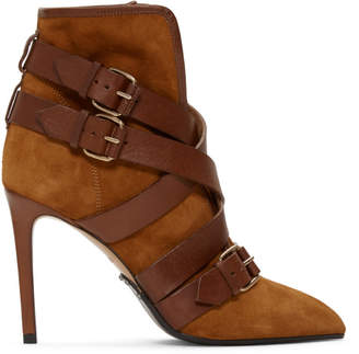 Balmain Tan Suede Jackie Ankle Boots