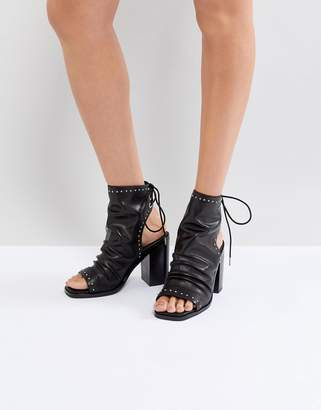 Sol Sana Voyager Black Leather Heeled Open Toe Boots