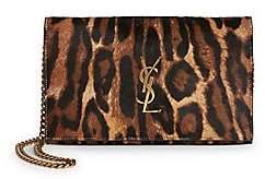 Saint Laurent Women's Leopard-Print Leather & Calf Hair Wallet-On-Chain