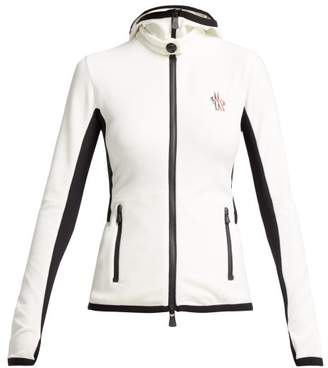 Moncler Logo Embroidered Hooded Fleece Jacket - Womens - White Multi