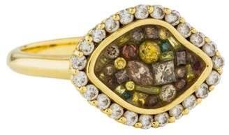 Plevé 18K Cinnamon Mini East-West Diamond Ring