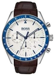 HUGO BOSS Trophy Leather-Strap Watch