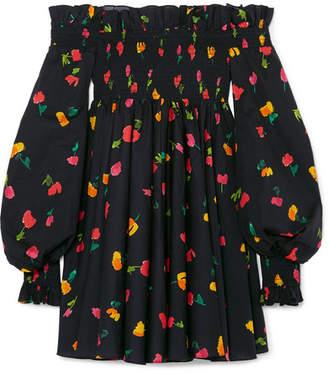 Caroline Constas Kora Off-the-shoulder Printed Cotton-blend Mini Dress - Black