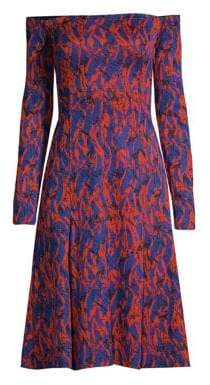 Derek Lam Off-The-Shoulder Abstract Print Dress