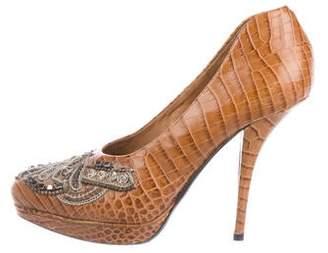 Dries Van Noten Crocodile High-Heel Pumps
