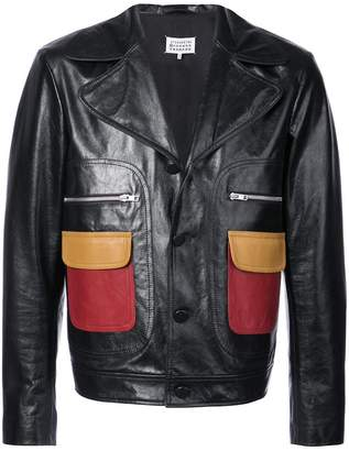 Maison Margiela contrast pockets leather jacket