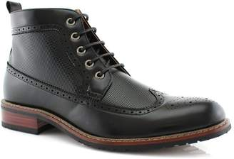 Aldo Ferro MFA-806278 Men's Lace up Wing Tip Perforated Dress Ankle Boot