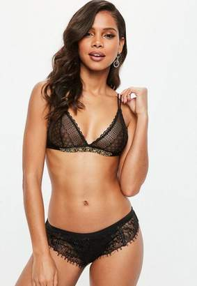 Missguided Black Jewel Embellished Trim Lace Triangle Bra