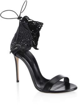Casadei Crochet Leather Sandals $750 thestylecure.com