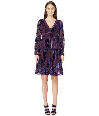 Marchesa Bishop Sleeve Printed Velvet Burnout Cocktail Dress