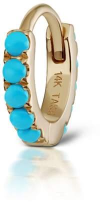 Maria Tash 6.5mm Turquoise Eternity Ring Single Earring - Yellow Gold