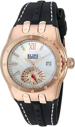 Elini Barokas Women's 'Genesis Vision' Swiss Quartz Stainless Steel and Silicone Automatic Watch, Black (Model: 20029-RG-02)