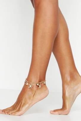 boohoo Shell & Starfish Charm Anklet