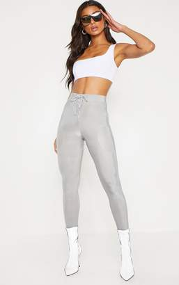 PrettyLittleThing Silver Grey Disco Lace Up Front Legging