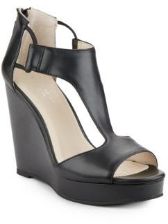 Hayley Leather T-Strap Wedge Sandals $130 thestylecure.com