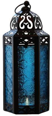 Blue Glass Moroccan Style Candle Lantern - Great for Patio
