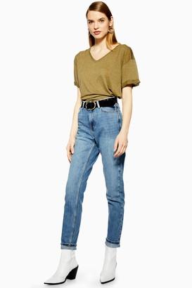 Topshop PETITE Mid Blue Mom Jeans