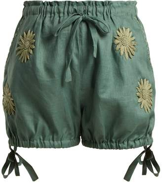 INNIKA CHOO Floral-embroidered bloomer shorts