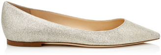 Jimmy Choo ROMY FLAT Platinum Ice Dusty Glitter Pointy Toe Flats