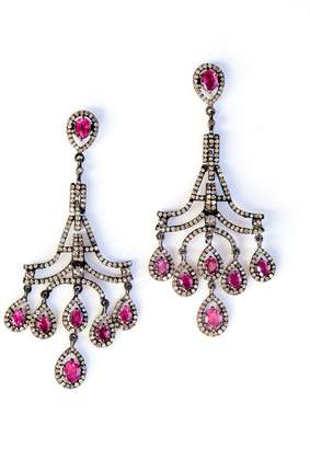 Vinesh diamonds and pink sapphire chandelier earrings