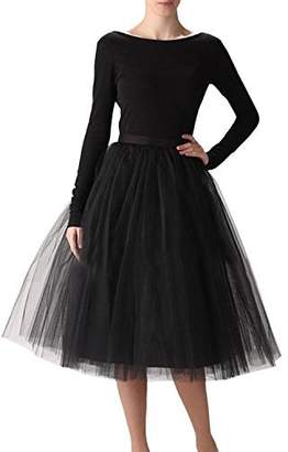 Belle House Women's A Line Short Knee Length Tutu Tulle Prom Party Skirt 2018 Petticoat Skirts with Elastic Waist Band