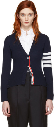 Thom Browne Navy Classic Short V-Neck Cardigan $1,690 thestylecure.com