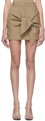 Tibi Brown Linen and Viscose Removable Tie Miniskirt