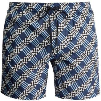 Fendi Logo and geometric-print swim shorts