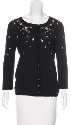John Galliano Embroidered Knit Cardigan