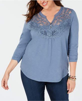 Style&Co. Style & Co Plus Size Crochet-Bib Split-Neck Top, Created for Macy's