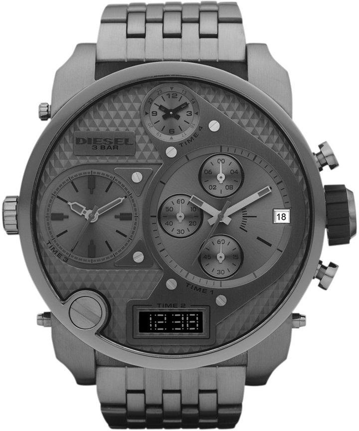 Diesel Watch, Analog Digital Gunmetal Ion Plated Stainless Steel Bracelet 66x57mm DZ7247