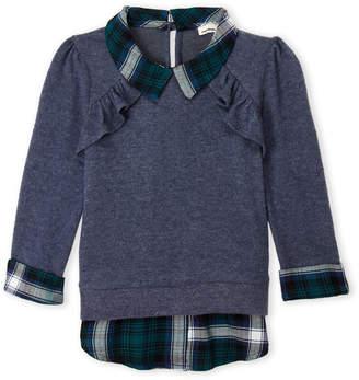 Monteau Girl (Girls 7-16) 2fer Plaid Long Sleeve Top