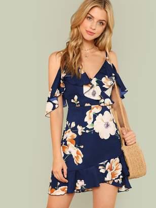 Shein Flounce Cold Shoulder Ruffle Hem Floral Dress