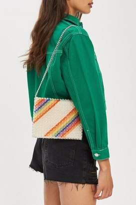 Topshop Zizi Rainbow Beaded Shoulder Bag