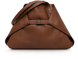 Akris Ai Small Leather Shoulder Tote Bag, Caramel
