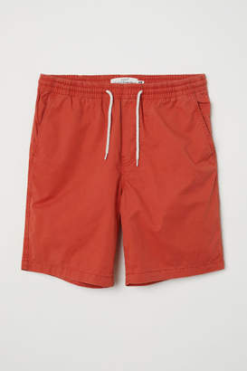 H&M Elasticized Cotton Shorts - Red