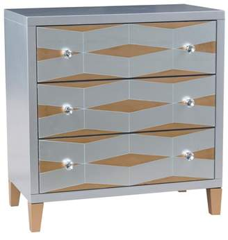HomeFare Contrasting Finish Mirror Drawer Chest