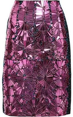 Maison Margiela Appliqued Cotton And Silk-blend Skirt