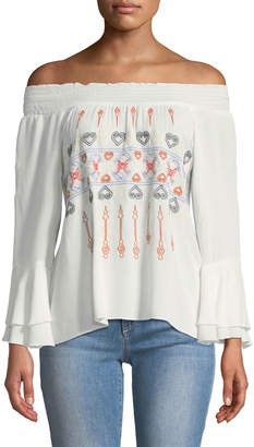 Allison New York Off-The-Shoulder Embroidered Bell-Sleeve Peasant Blouse