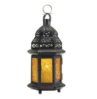 Gallery Of Light LARGE YELLOW GLASS MOROCCAN LANTERN