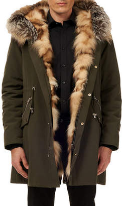 Gorski Men's Fox-Lined Parka Coat w/ Detachable Hood