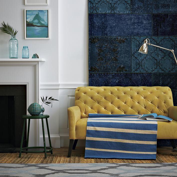 west elm Gradated-Stripe Cotton Rug - Poolside Blue