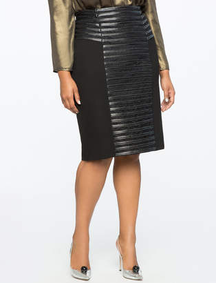 ELOQUII Faux Leather Detail Pencil Skirt