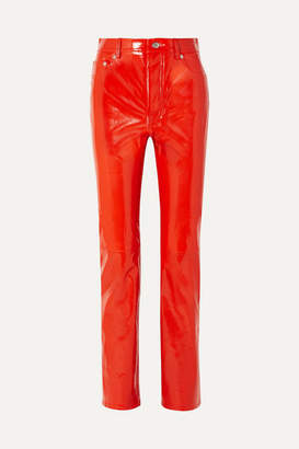 Helmut Lang Patent-leather Straight-leg Pants - Red