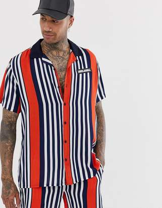 Night Addict striped revere collar shirt
