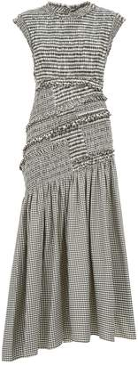 3.1 Phillip Lim Smocked Gingham Drop Waist Dress