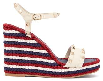 Valentino Torchon Rockstud Leather Wedge Sandals - Womens - White
