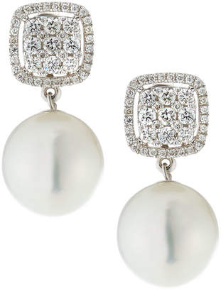 Belpearl 18k White Gold Diamond-Post & South Sea Pearl Earrings