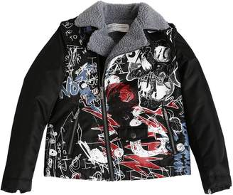 John Galliano Printed Nylon & Faux Shearling Jacket