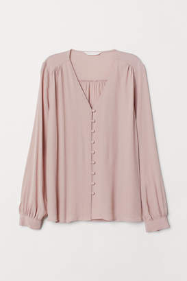 H&M V-neck Blouse - Pink